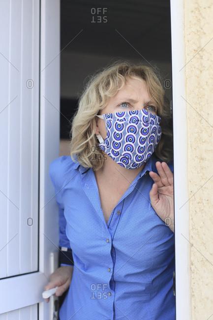 daily life during the Coronavirus epidemic. Alternative fabric mask