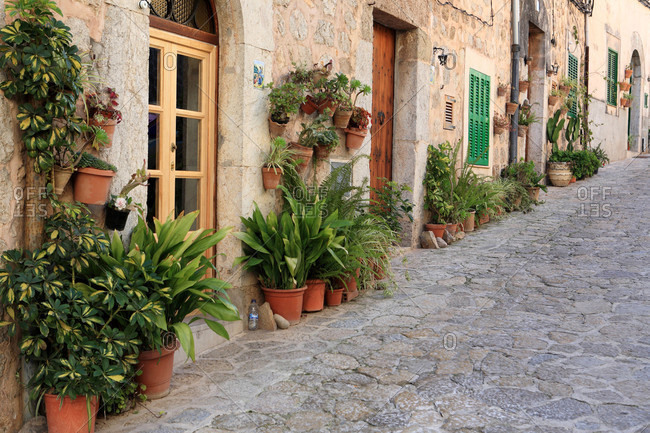 Spain,  Balearic islands,  Majorca,  Valldemossa,  street