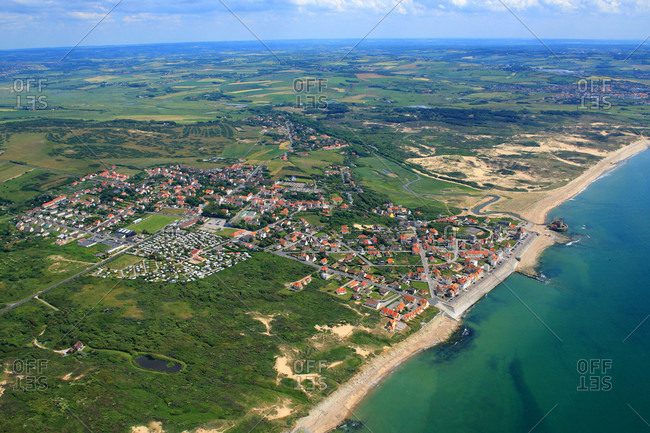 France,  Pas-de-Calais,  aerial view of Ambleteuse