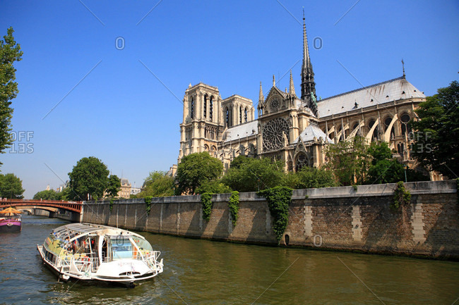 France - June 30,  2009: France,  Paris,  boat-taxi and Notre Dame cathedral