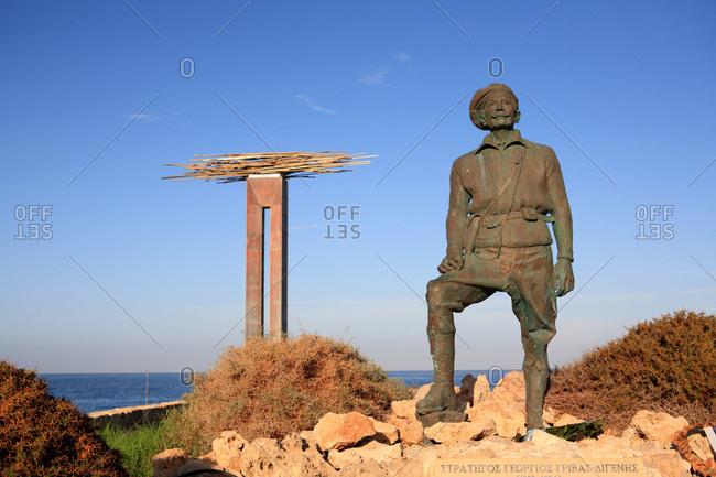 Cyprus - August 11,  2020: Cyprus,  Paphos,  statue of Gorgios Grivas