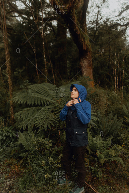 Woman in forest, Queenstown, Canterbury, New Zealand