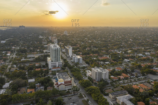 January 16, 2019: Cityscape at sunset, aerial view, Miami, Florida, United States