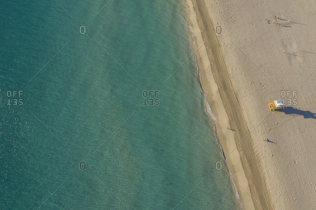 Lifeguard tower on Fisher Island beach, aerial view, Miami, Florida, United States