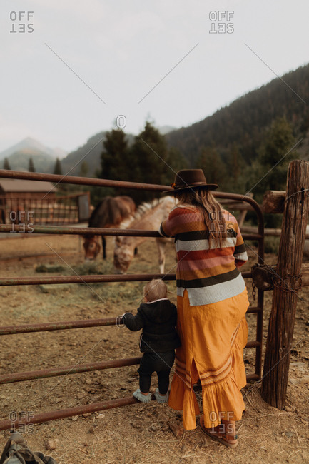Mid adult mother with toddler daughter looking at horses in paddock, rear view, Mineral King, California, USA