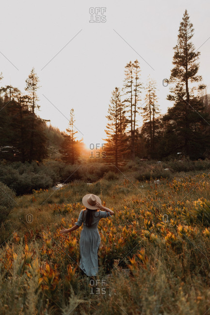 Young woman in maxi dress and stetson watching sunset in rural valley, rear view, Mineral King, California, USA