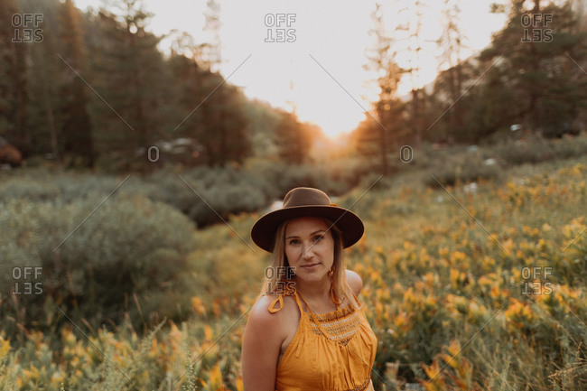 Mid adult woman in felt hat amongst wildflowers at sunset in rural valley, portrait, Mineral King, California, USA