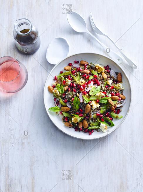 Lentil and tricolour quinoa salad with cinnamon dressing