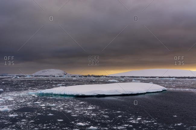 Icebergs at sunset , Lemaire channel, Antarctica