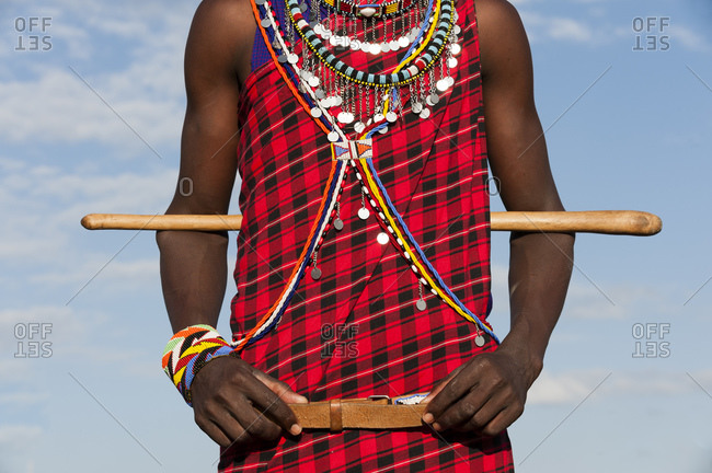 Cropped shot of Masai man, Masai Mara National Reserve, Kenya