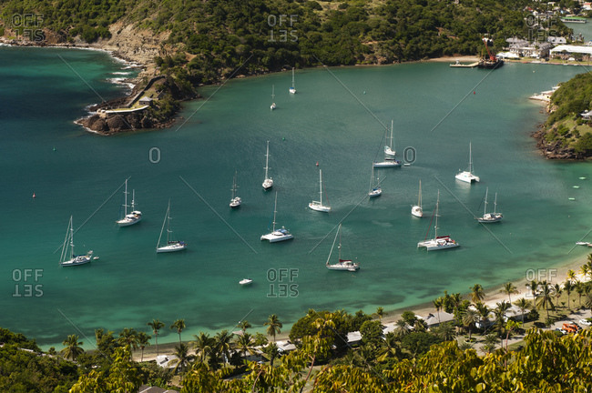 Luxury sailboats in English Harbour, Antigua and Barbuda, Caribbean