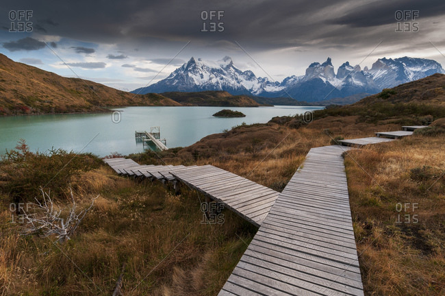 Boardwalk to Lago Pehoe, Torres del Paine National Park, Patagonia, Chile