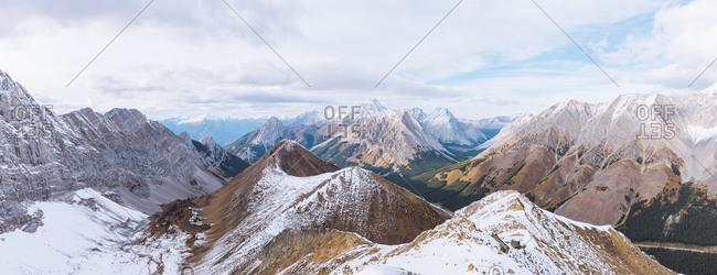 Panoramic view across the Canadian Rockies at Pocaterra Ridge.