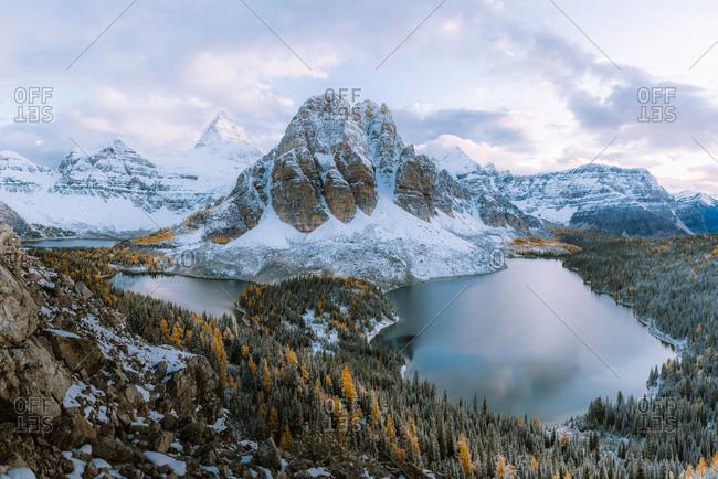 Panoramic view of Mount Assiniboine and Sunburst peak, Great Divide, Canadian Rockies, Alberta, Canada
