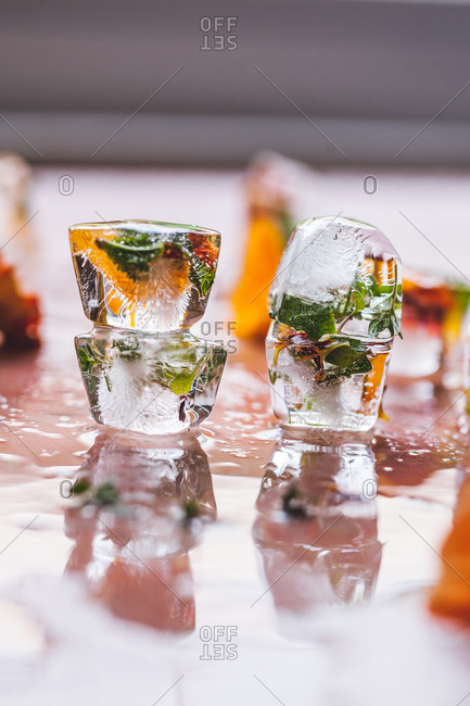 Floral and herb ice cubes