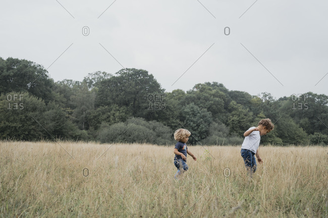 Young boys playing in a field