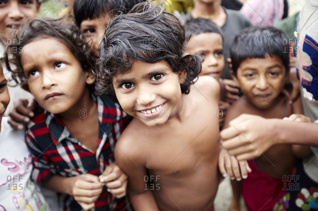 Rangamati, Bangladesh - May 5, 2013: Group of young children in the Rangamati slum
