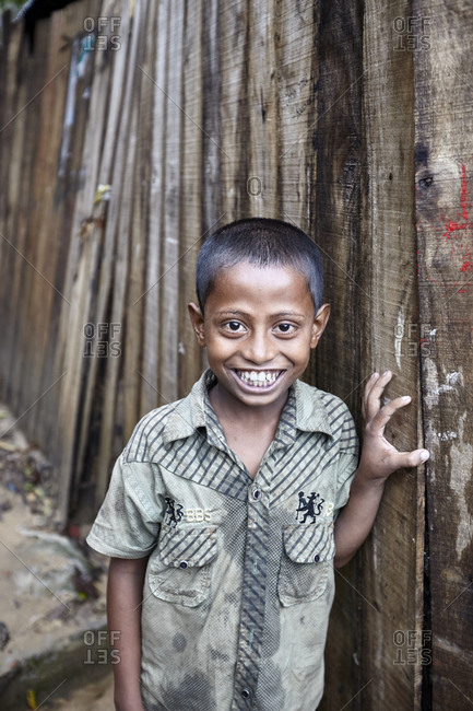 Rangamati, Bangladesh - May 5, 2013: Portrait of a young boy living in the slums of Bangladesh