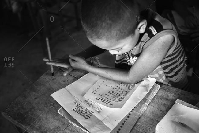 Bandarban, Bangladesh - May 6, 2013: Classroom filled with children in a rural Bangladeshi settlement