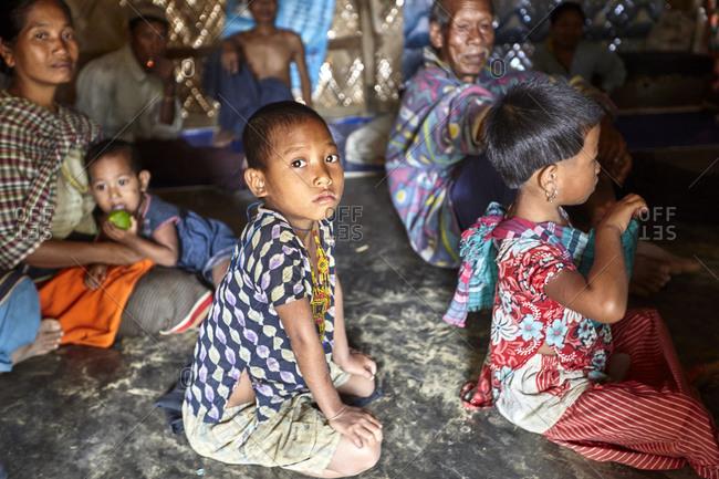 Bandarban, Bangladesh - May 6, 2013: Classroom filled with Tripuri children in a rural Bangladeshi settlement