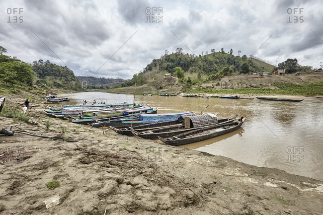 Bandarban, Bangladesh - May 6, 2013: Boats moored on the shore of the River Sangu