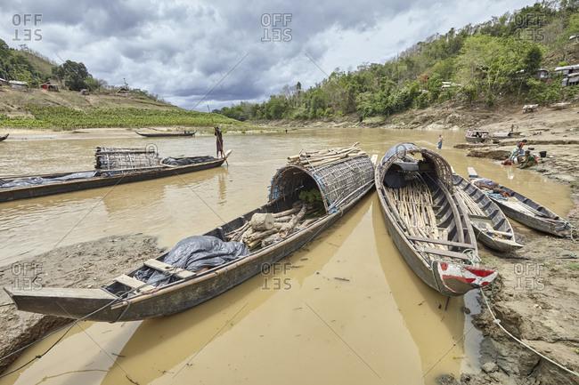 Bandarban, Bangladesh - May 6, 2013: Traditional boats on the Sangu River