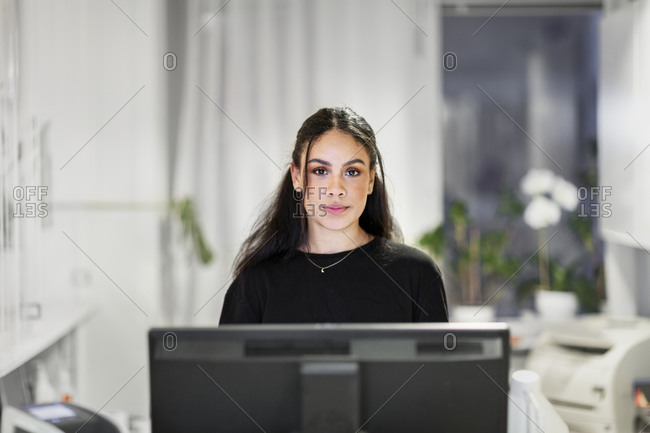 Receptionist looking at the camera