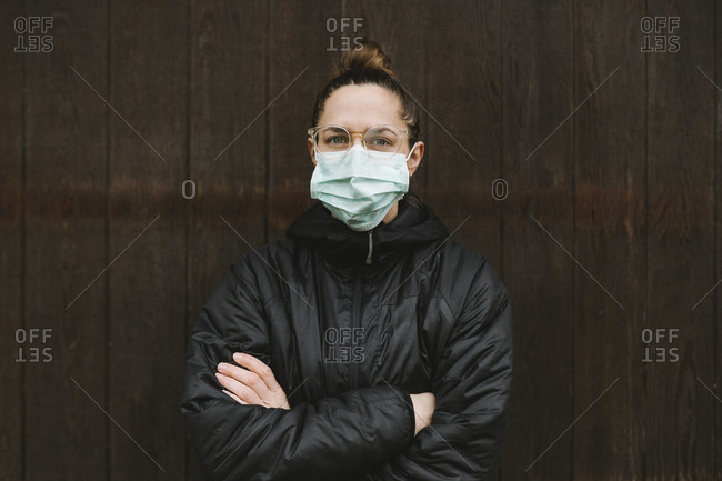 Portrait of woman wearing surgical mask