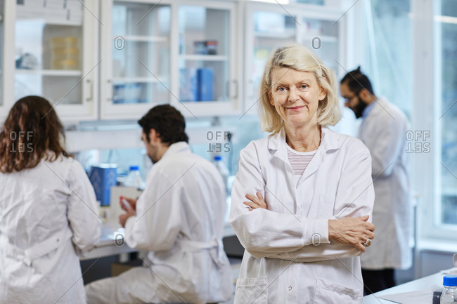 Smiling woman in a laboratory