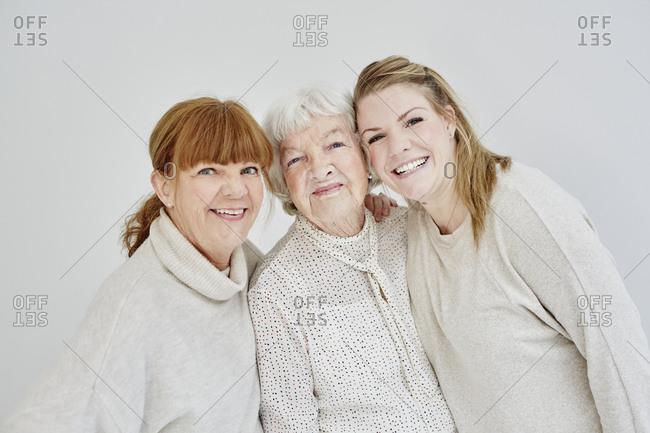 Studio shot of multigeneration family
