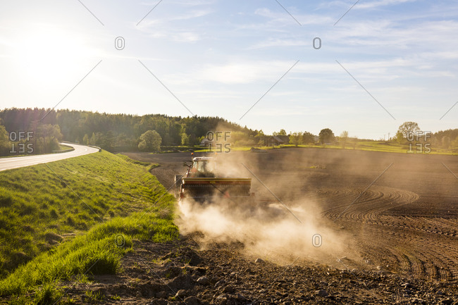 Tractor on a plowed field