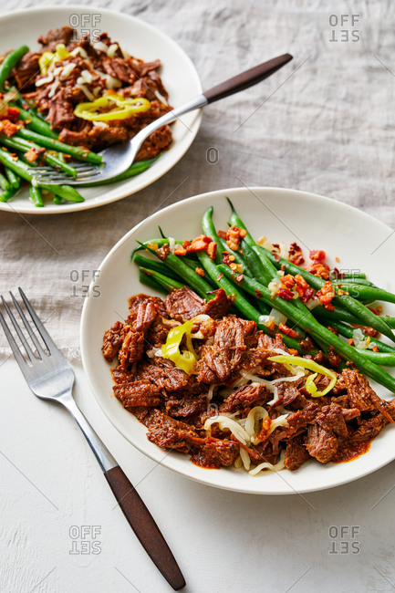 Italian shredded beef dish and green beans