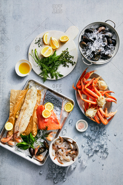 Variety of seafood dishes
