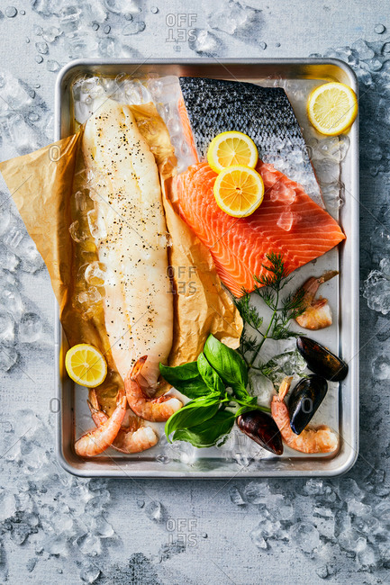Variety of fish on a baking tray
