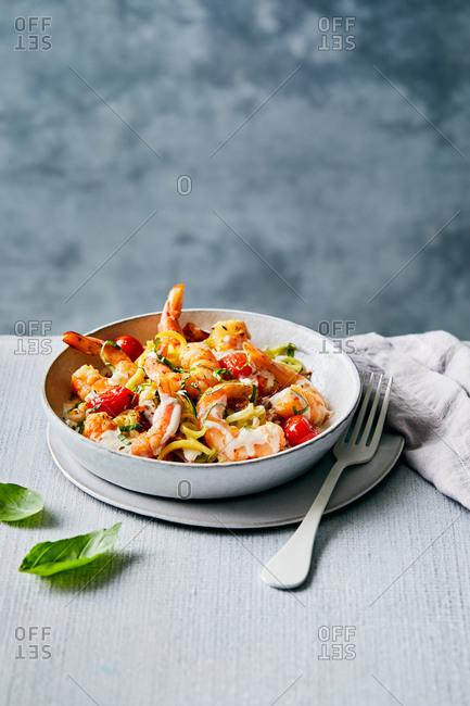 Gourmet shrimp pasta dish