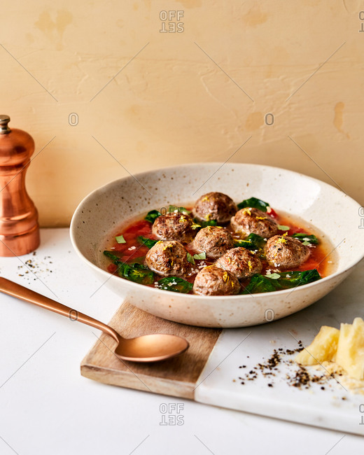 Meatball soup in a bowl