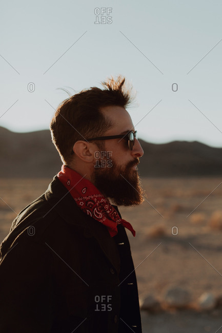 Portrait of bearded man, Trona Pinnacles, California, US