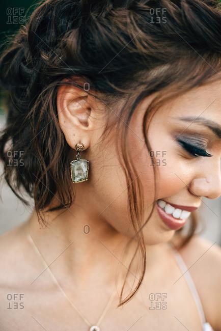 Portrait of bride, cropped close up