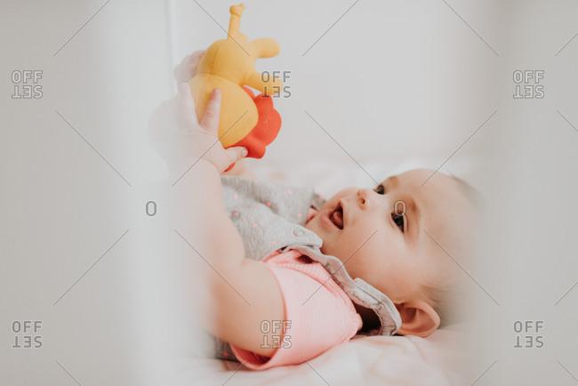 Baby in crib lying still