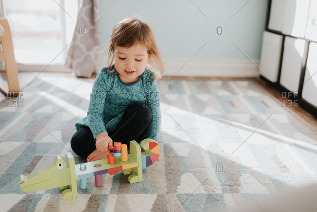 Female toddler playing with toy on living room rug