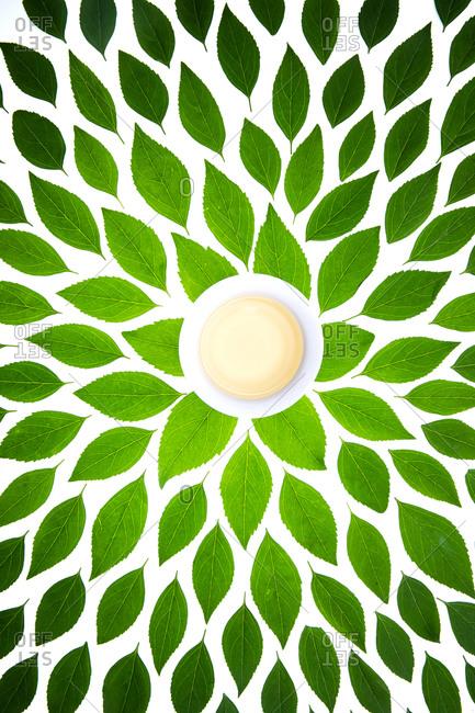 Green tea leaves and tea cups