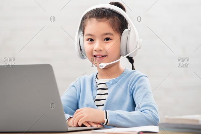 Primary school girls online learning