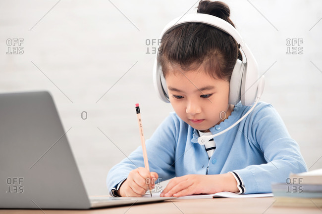 Primary school girls online learning