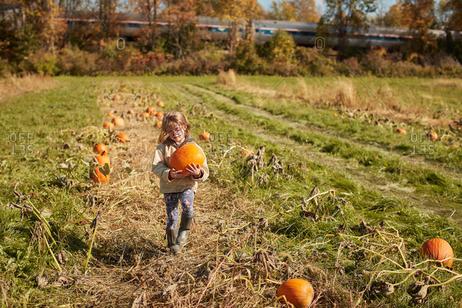 Girl in pumpkin patch having fun