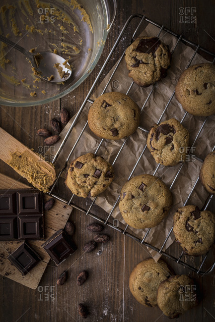 Chocolate chip cookies on baking tray