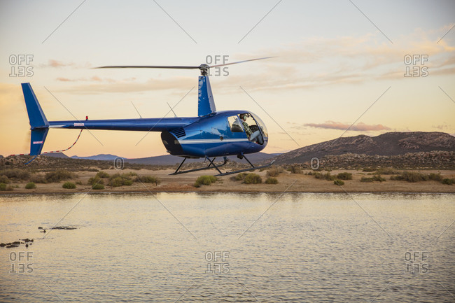 Helicopter flying above watering hole, Cape Town, Western Cape, South Africa
