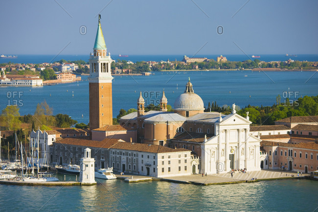 Elevated view of the church of Saint George Major, Venice, Italy