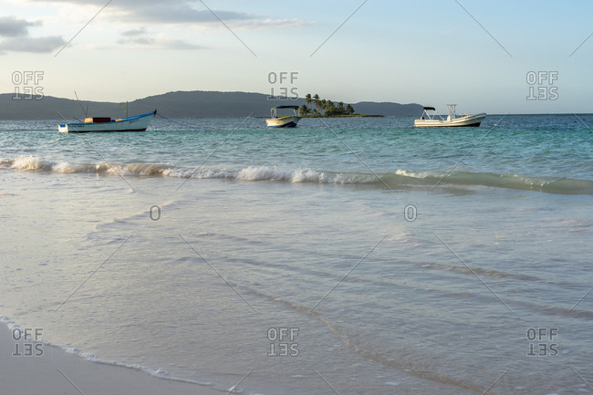 September 4, 2019: Caribbean, Greater Antilles, Dominican Republic, Samana, Las Galeras, fishing boats on Playa Grande beach in Las Galeras
