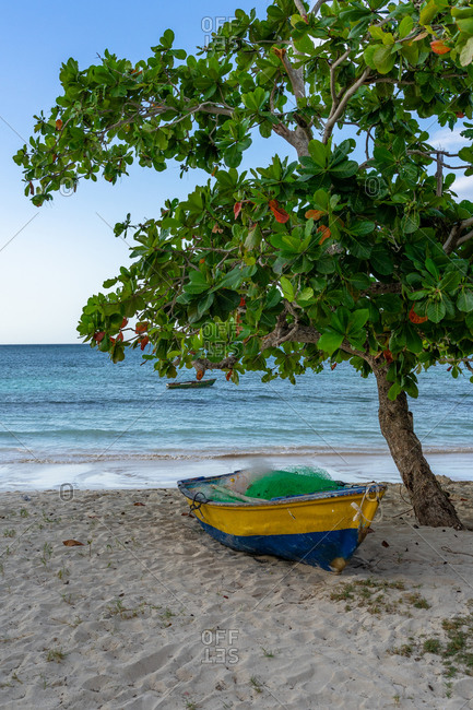 Caribbean, Greater Antilles, Dominican Republic, Samana, Las Galeras, fishing boat on Playa Grande beach in Las Galeras