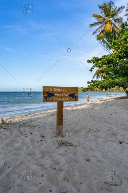 September 3, 2019: Caribbean, Greater Antilles, Dominican Republic, Samana, Las Galeras, sign on Playa Grande beach in Las Galeras